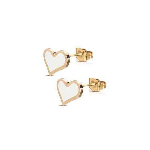 Kolczyki serca emaliowane ze stali nierdzewnej w kolorze różowego złota, stal 316l marki 925.pl