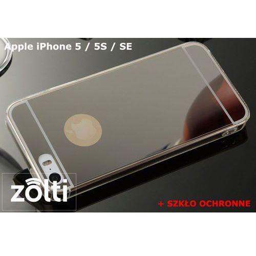 Slim mirror / perfect glass Zestaw | slim mirror case czarny + szkło ochronne perfect glass | etui dla apple iphone 5 / 5s / se