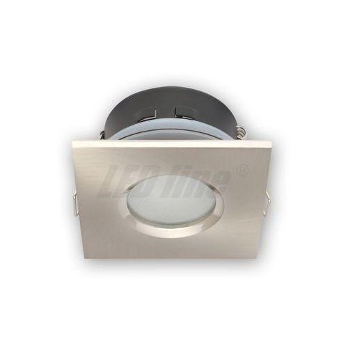 Oprawa halogenowa sufitowa wodoodporna, kwadratowa, stała, odlew, aluminium - satyna (5901583245398)