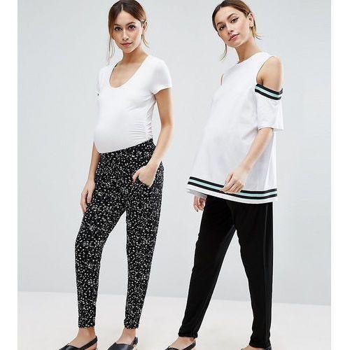 petite 2 pack jersey peg trousers in plain black and blurred spot print - black marki Asos maternity