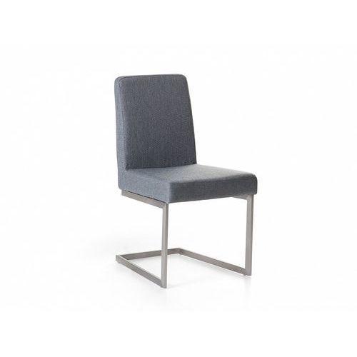 Krzesło ze stali szlachetnej - szare - tapicerowane - do jadalni, kuchni - arctic marki Beliani