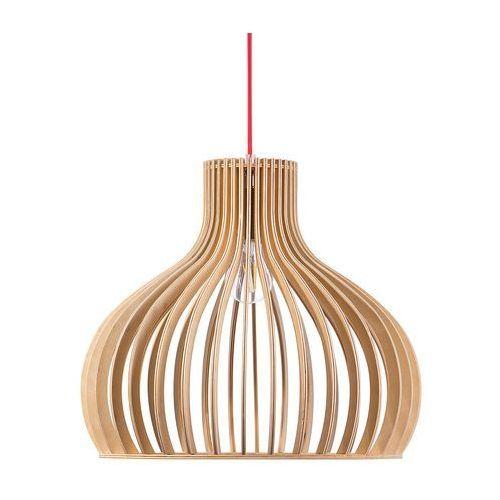 Beliani Lampa wisząca jasne drewno malone xl (4260580927203)