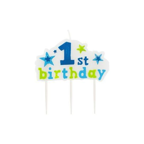 Świeczka na pikerach 1st Birthday niebieska - 1 szt. (5901238630845)