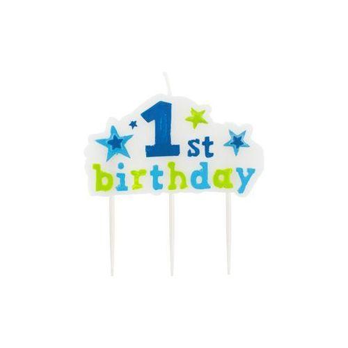 Świeczka na pikerach 1st Birthday niebieska - 1 szt., STOR/0845-5