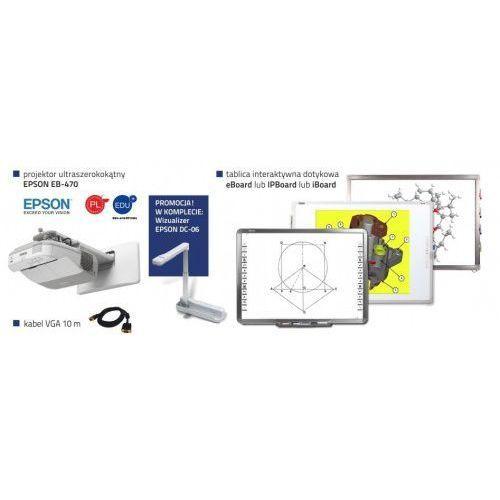 Iboard Idealny zestaw interaktywny ipboard 85 dual + projektor ultrakrótkoogniskowy epson eb-470 edu+ uchwyt ścienny + kabel vga 10m + wizualizer epson elp-dc06