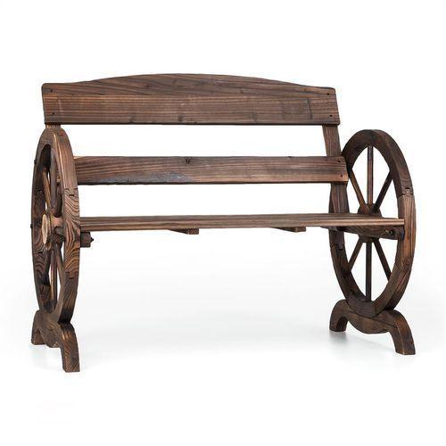 Blumfeldt Ammergau ławka ogrodowa ławka drewniana ławka na kołach 108x65x86cm opalane drewno jodłowe (4260486156851)
