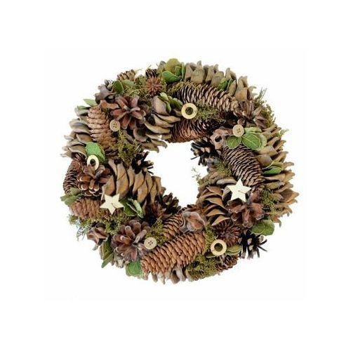Wianek świąteczny z szyszkami 30 cm brązowo zielony