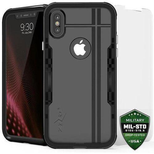 Zizo shock case etui obudowa iphone x (black/black) + szkło hartowane na ekran