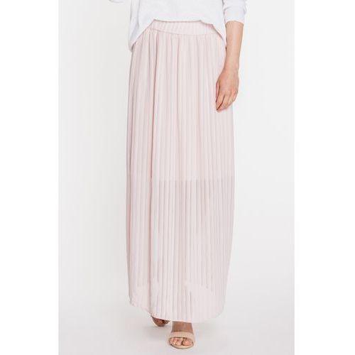 Plisowana, długa spódnica w delikatnym odcieniu różu - Jelonek, plisowana