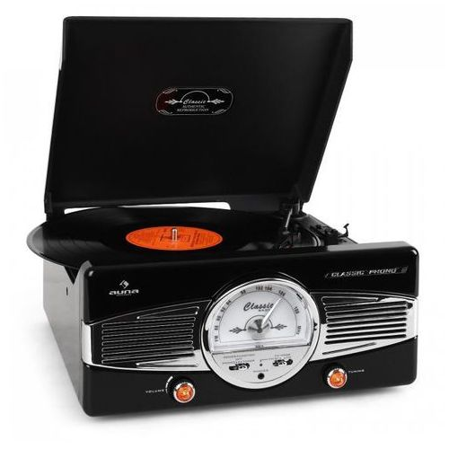 Auna MG-TT-82B gramofon radio FM lata 50-te retro czarny (4260353852749)