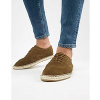 Kg by kurt geiger lace up espadrilles in khaki suede - grey marki Kg kurt geiger