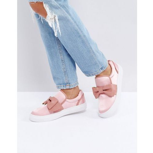 Glamorous Pink Knotted Bow Slip On Plimsoll - Pink