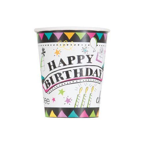 Unique Kubeczki urodzinowe doodle happy birthday - 266 ml - 8 szt.