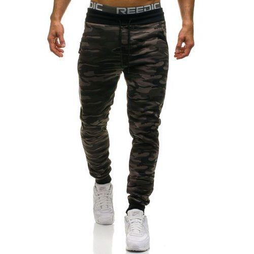 Spodnie męskie dresowe moro-khaki Denley HL8497