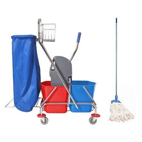 Clean Wózek do sprzątania 2x17 l z uchwytem na worek i mopem sznurkowym wózek do mycia podłóg z workiem na śmieci