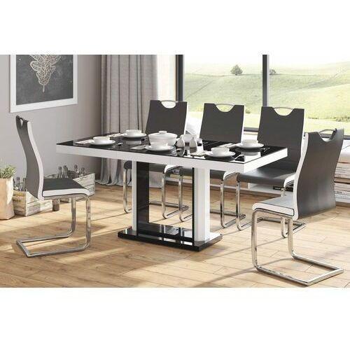 Stół rozkładany quadro 120-168 czarno-biały połysk marki Hubertus