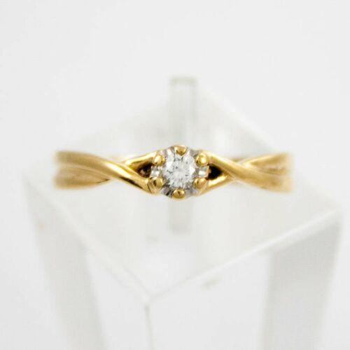 Złoty pierścionek z diamentem P1510, kolor żółty
