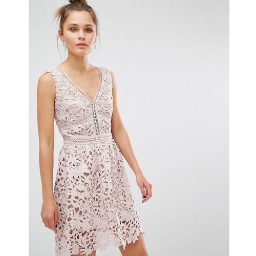 New Look Premium Lace Skater Dress - Pink