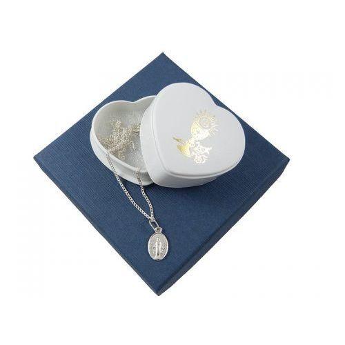 Zestaw na komunię: medalik mały + łańcuszek 0,4 - 45cm - srebro 925, ZK-010