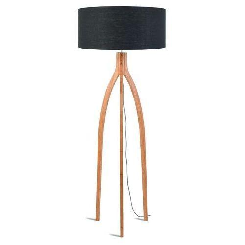GOOD&MOJO Lampa podłogowa Annapurna bambus 3-nożna 128cm/abażur 60x30cm, lniany ciemnoszary ANNAPURNA/F/6030/DG