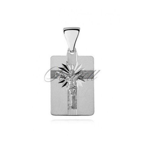 Srebrny diamentowany medalik pr.925 Jezus na krzyżu - MD471b, MD471b