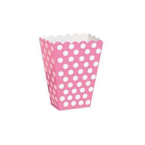 Pudełka na popcorn różowe w białe kropki - 8 szt.