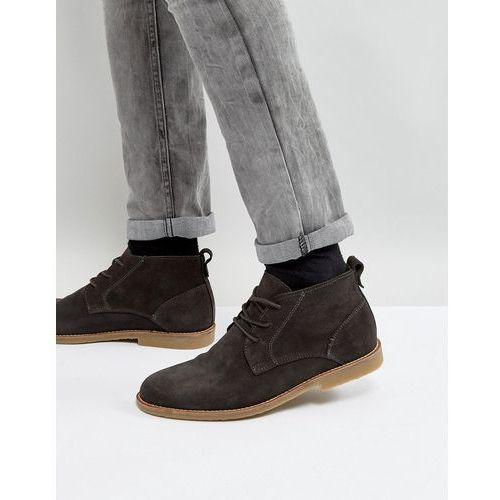 River Island Suede Desert Boots In Dark Grey - Grey