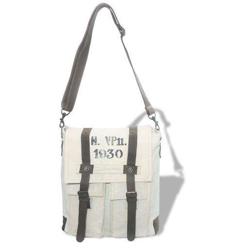 Vidaxl torebka na ramię płócienno-skórzana, kremowa