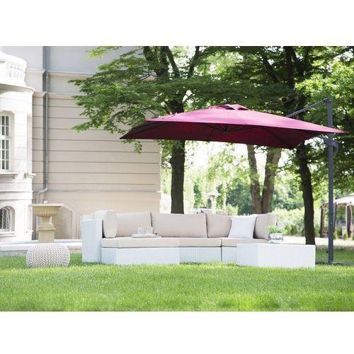 Beliani Parasol ogrodowy 250 x 250 x 235 cm bordowy/ciemnoszary monza (4260602371021)