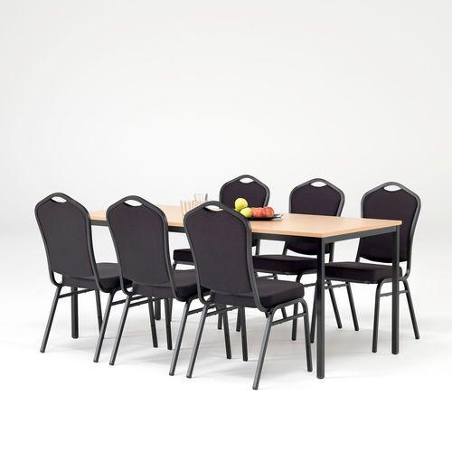 Aj produkty Zestaw mebli do stołówki, stół 1800x800 mm, buk + 6 krzeseł, czarny/czarny