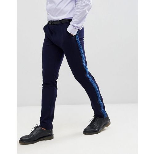 Boohooman skinny suit trousers with velvet side stripe in navy - navy