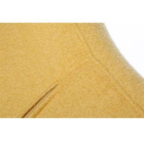 Fotel EGG SZEROKI BLACK z podnóżkiem musztardowy.13 - wełna, podstawa czarna (5900168812710)