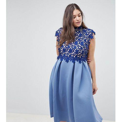 ASOS DESIGN Curve heavy lace high neck prom dress - Navy, kolor niebieski