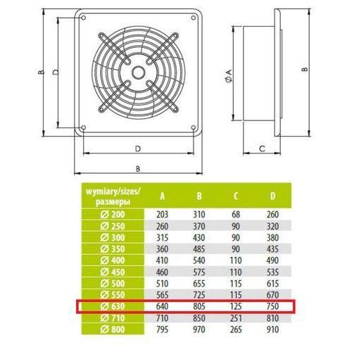 Airroxy Ścienny wentylator wyciągowy przemysłowy średnice od 200 do 630 mm bardzo wydajny arok średnice: 630