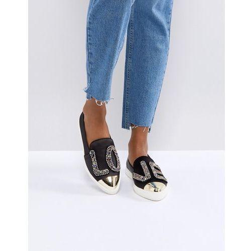 Miss kg beaded 'love' satin sneakers - black