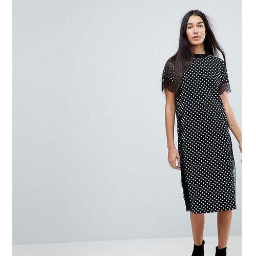 Asos tall midi t-shirt dress with lace insert in polka dot - multi