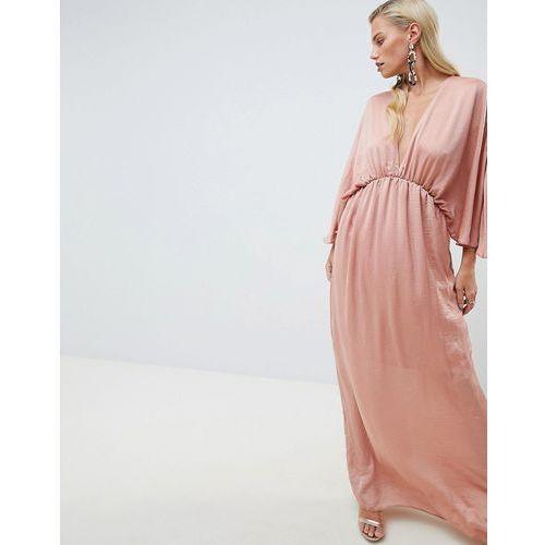 ASOS DESIGN kimono maxi dress in satin - Pink, kolor różowy