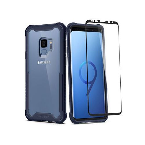 Etui Spigen Hybrid 360 + szkło Samsung Galaxy S9 Deepsea Blue - Granatowy, kolor niebieski