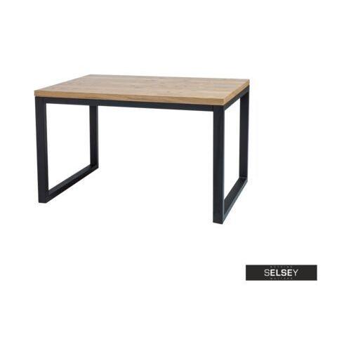 Selsey stół pazmer 120x80 cm z litego drewna z czarną podstawą (5903025239613)