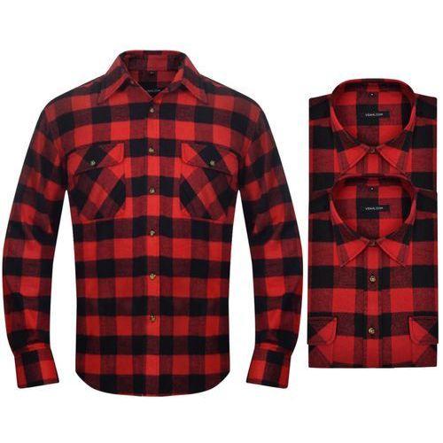 6e5ed0a1369371 OKAZJA - vidaXL 2 Męskie koszule flanelowe w czerwono-czarną kratę rozmiar  M, kolor ...