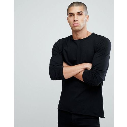basic raw edge long sleeve top - black, Another influence, XS-L
