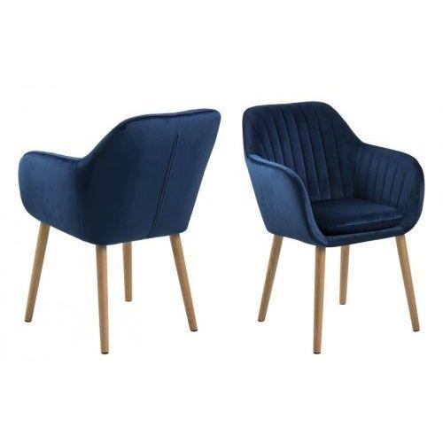 Krzesło Emilia Velvet granatowe, kolor niebieski