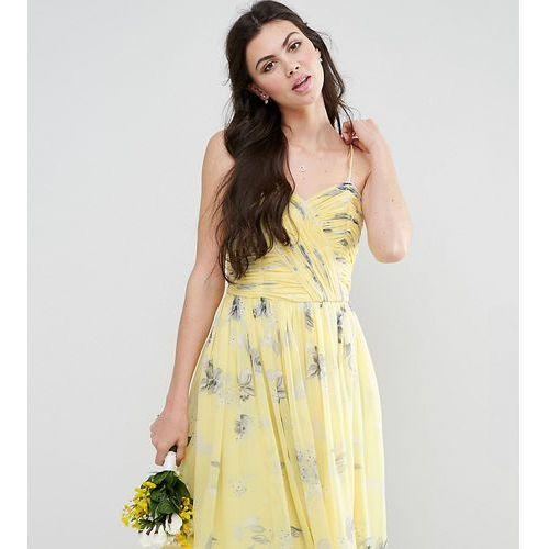 wedding rouched midi dress in sunshine floral print - yellow marki Asos tall