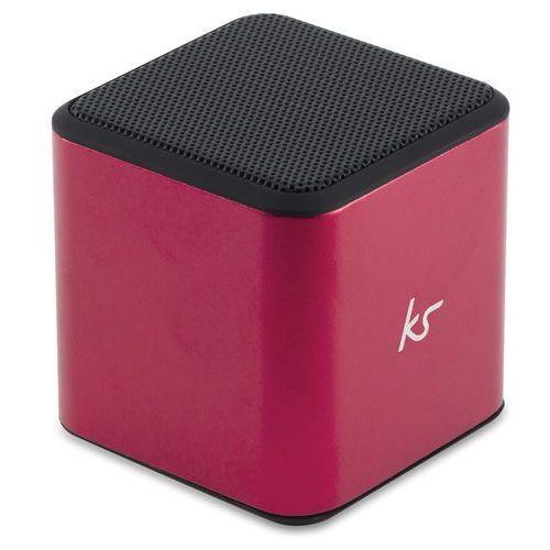 KitSound Cube ulegający ponownego ładowania, przenośny głośnik Bluetooth z 3,5 MM kabel audio czerwony (5030578382449)