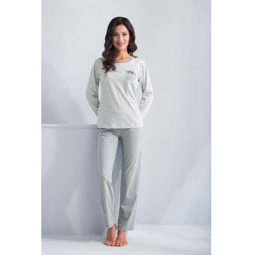 Piżama Luna 620 dł/r M-XL 2XL, szary-paski, Luna