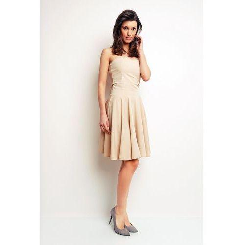 638db42ea2 Beżowa Gorsetowa Rozkloszowana Sukienka przed Kolano