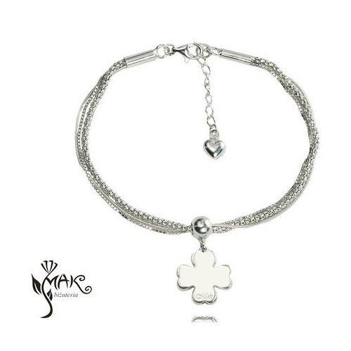Mak-biżuteria Br833 bransoletka z grawerem srebrna koniczynka