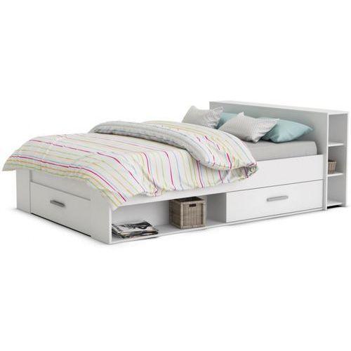 Łóżko LEONIS ze schowkami i szufladami - 160 × 200 cm - Biały, kolor biały