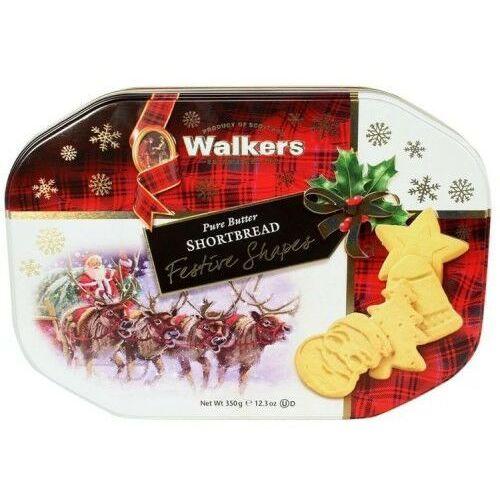 Walkers Ciasteczka maślane pure butter shortbread świąteczne kształty puszka 350g