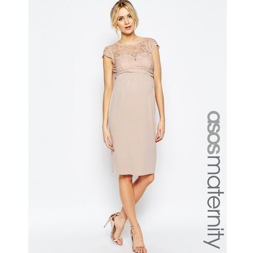 ASOS Maternity WEDDING Midi Dress With Lace Top And Pleat Waist - Pink
